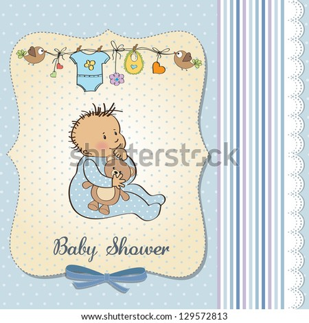 baby announcement card with little boy - stock vector