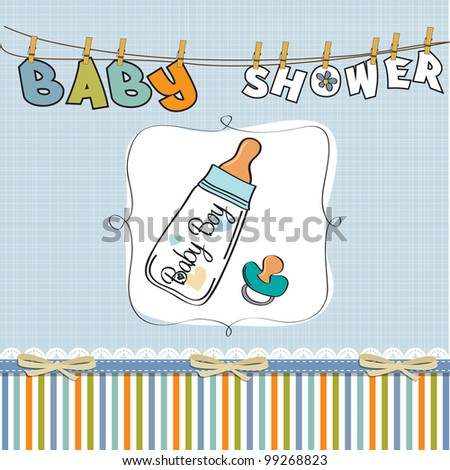 baby announcement card with milk bottle and pacifier - stock vector