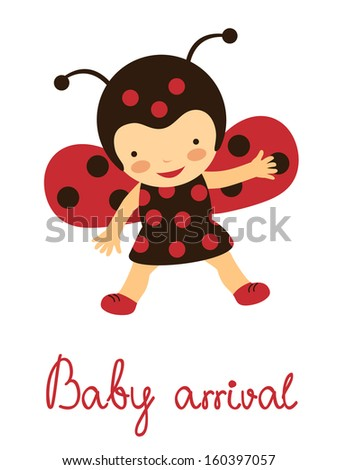 Baby arrival card with baby ladybug - stock vector