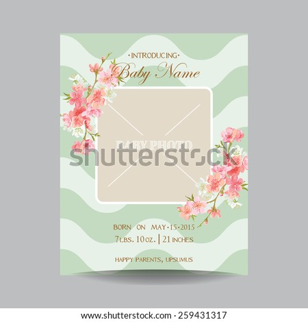 Baby Arrival Card with Photo Frame -Blossom Flowers Theme - in vector - stock vector