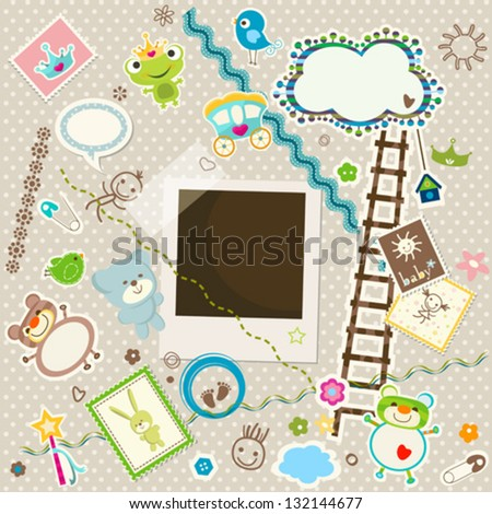 baby background, colorful scrapbook set with cute elements - stock vector