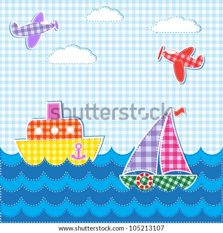 Baby background with aircrafts and ships. Vector textile stickers - stock vector