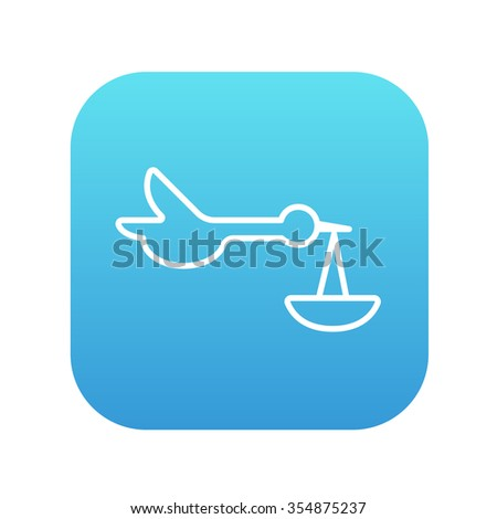 Baby basket with stork line icon for web, mobile and infographics. Vector white icon on the blue gradient square with rounded corners isolated on white background. - stock vector