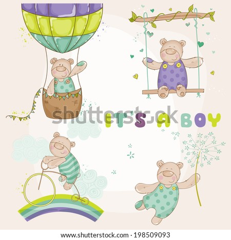 Baby Bear Set - Baby Shower or Arrival Card - in vector - stock vector