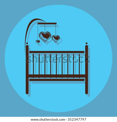 baby bed circle icon with shadow - stock vector