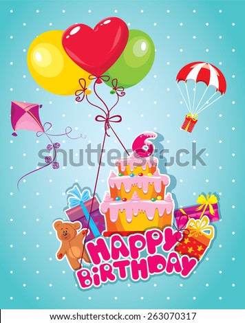 Baby birthday card with teddy bear, balloons, big cake and gift boxes. Six year anniversary - stock vector