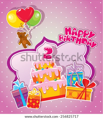 Baby birthday card with teddy bear, big cake and gift boxes. Two years anniversary - stock vector