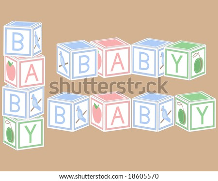 Baby blocks in pastel colors. - stock vector
