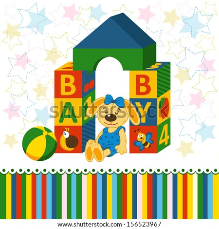 baby blocks toys - vector illustration - stock vector