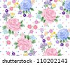 baby blue,roses pattern,floral pattern - stock vector