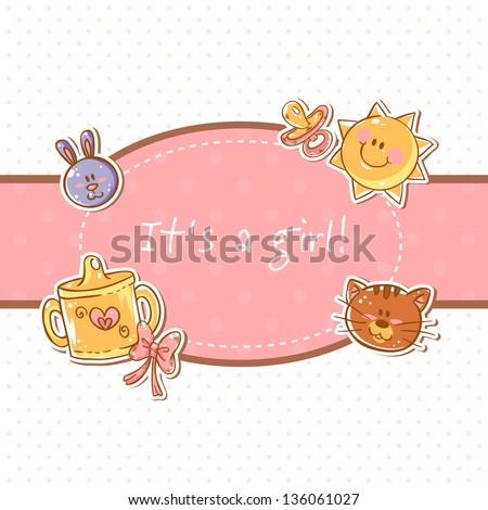 Baby born sweet girl congratulation postcard - stock vector