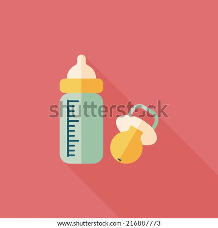 Baby bottle flat icon with long shadow,EPS 10 - stock vector