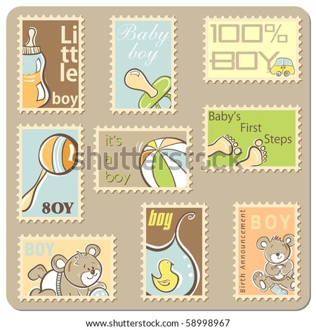 Baby boy announcement card - collection of postal stamps - stock vector