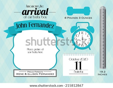 baby boy announcement card template vector/illustration - stock vector