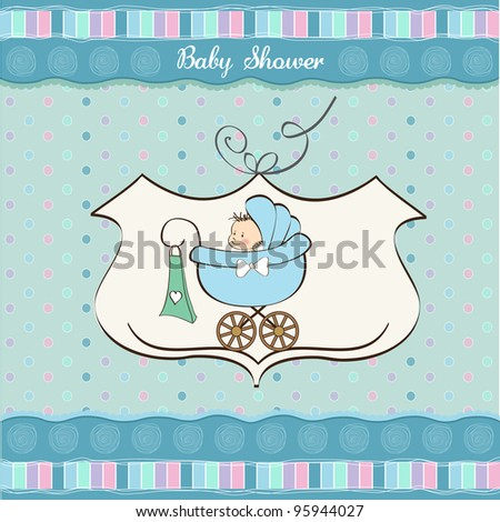 baby boy announcement card with baby and pram - stock vector