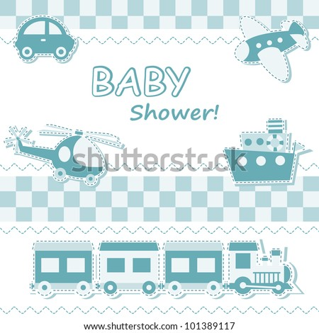 Baby boy announcement card with toys - stock vector