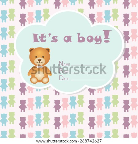 Baby boy arrival card. Baby shower card. Newborn baby card with bear and colorful bears. Vector illustration. The text is drawn, the text can be removed.  - stock vector