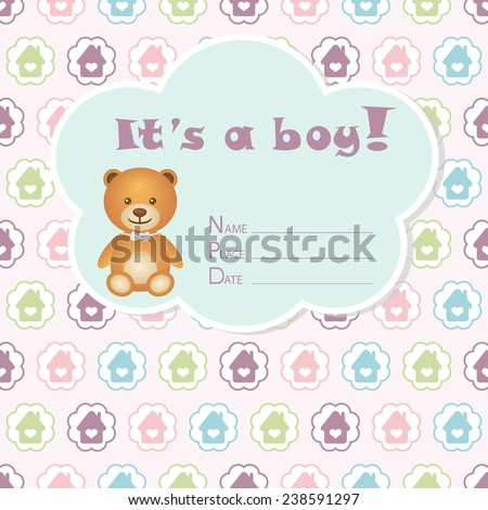 Baby boy arrival card. Baby shower card. Newborn baby card with bear and colorful houses in circles. Vector illustration. The text is drawn, the text can be removed.  - stock vector