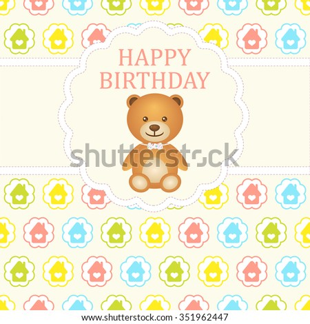 Baby boy arrival card. Baby shower card. Newborn baby card with teddy bear and background with colorful houses in circles. Vector illustration. The text is drawn, the text can be removed. - stock vector