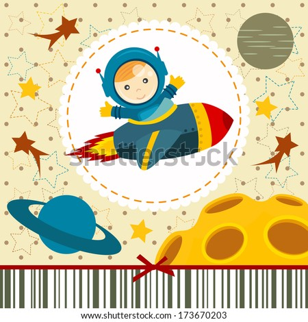 baby boy astronaut - vector illustration - stock vector