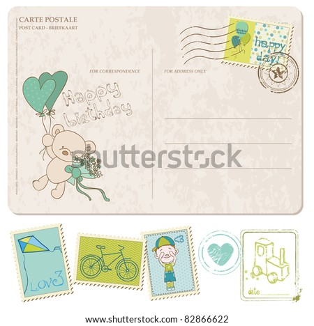 Baby Boy Birthday Postcard with set of stamps - stock vector