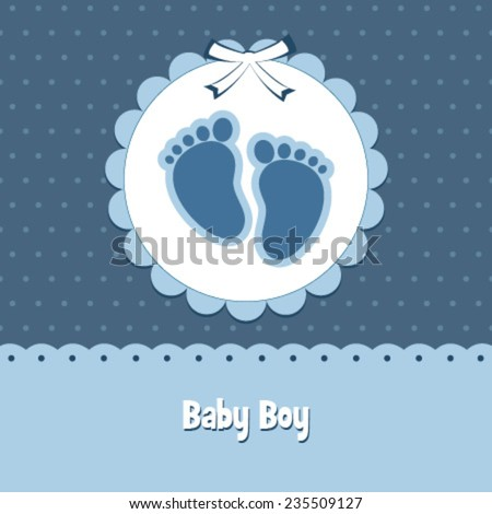 baby boy blue footstep card  - stock vector