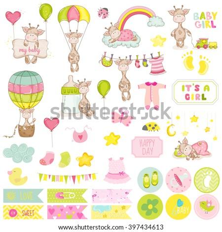 Baby Boy Giraffe Scrapbook Set. Vector Scrapbooking. Decorative Elements. Baby Tags. Baby Labels. Stickers. Notes. - stock vector