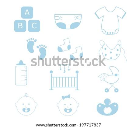 Baby Boy Items - stock vector
