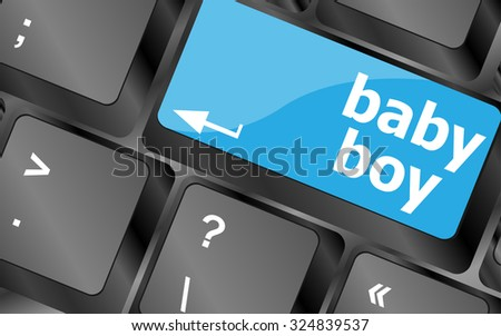 baby boy message on keyboard enter key, vector illustration - stock vector