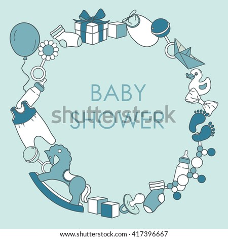 Baby boy shower card. Colorful invitation vector. Newborn baby boy background. Illustration with baby icons and child toys - stock vector