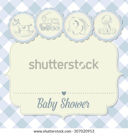 baby boy shower card with retro toys, vector illustration - stock vector