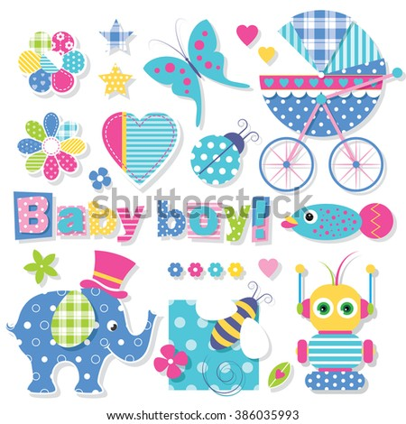 baby boy shower collection - stock vector