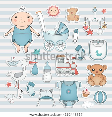 Baby boy shower.  Cute paper labels. - stock vector