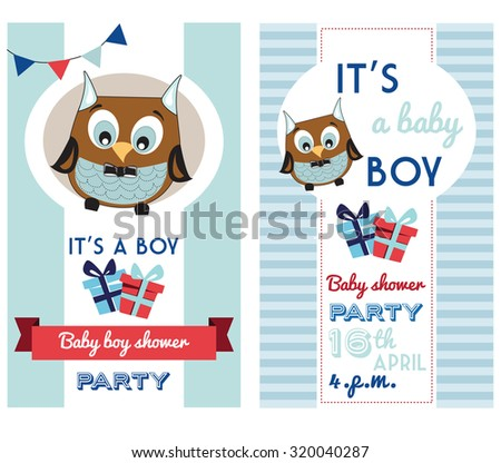 baby boy shower invitation card template with cute owl - stock vector