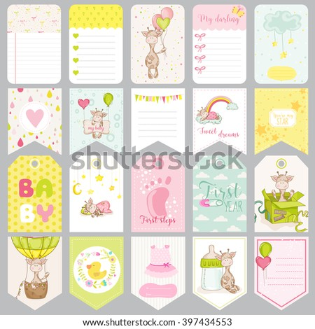 Baby Boy Tags. Baby Banners. Scrapbook Labels. Cute Cards. Vector Design Elements. - stock vector