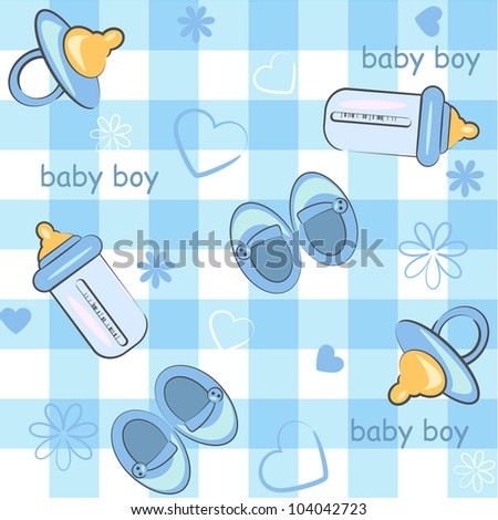 baby boy wrapping and background. icon seamless texture - stock vector