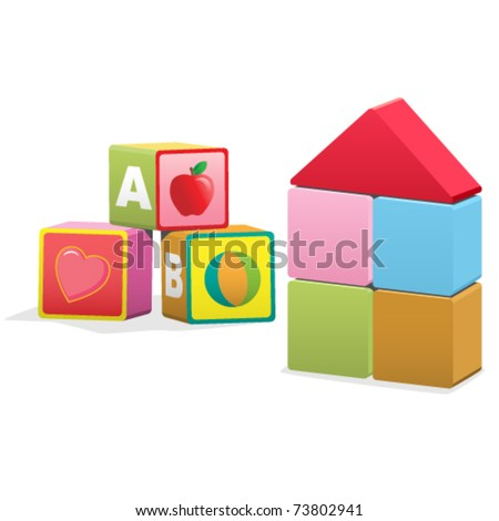 Baby building blocks, with ABC's, images, and blank - stock vector