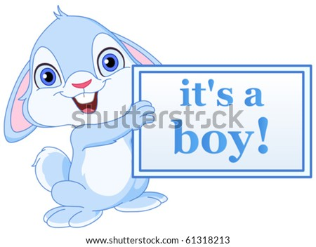 Baby bunny holding it?s a boy sign - stock vector