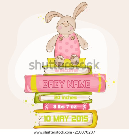 Baby Bunny Shower or Arrival Card - with place for your text - in vector - stock vector
