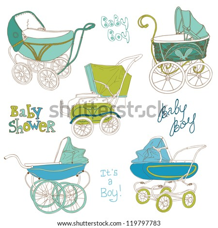 Baby Carriage Set - for your design and scrapbook in vector - stock vector
