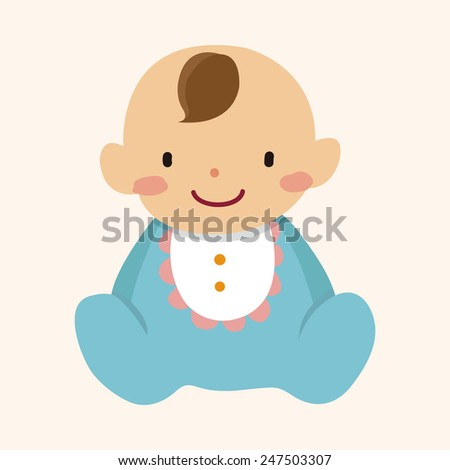 baby character flat icon - stock vector