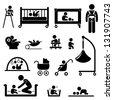 Baby Child Newborn Toddler Kid Equipment Stick Figure Pictogram Icon - stock vector
