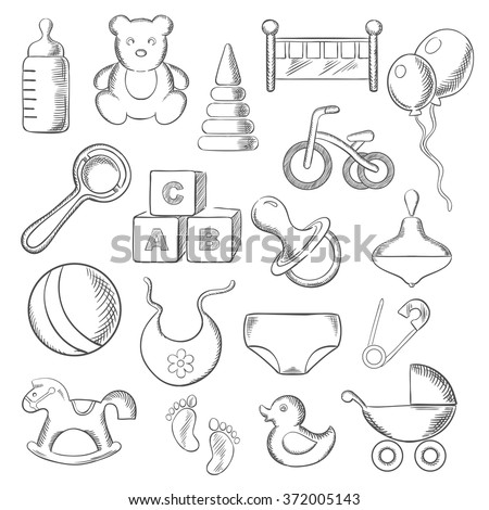 Baby, childish and childhood sketched icons with toys and diaper, bottle and pacifier, rattle and stroller, cubes and ball, bed and bib, bicycle and rocking horse. Vector sketch illustration - stock vector