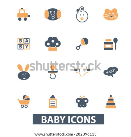 baby, children icons, signs, illustrations set, vector - stock vector
