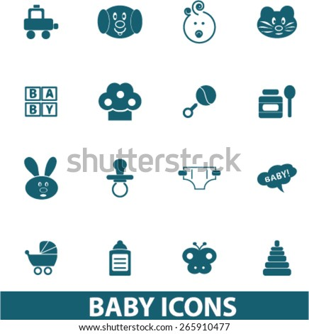 baby, children, toys icons, signs, illustrations design concept set for appliciation, website, vector on white background - stock vector