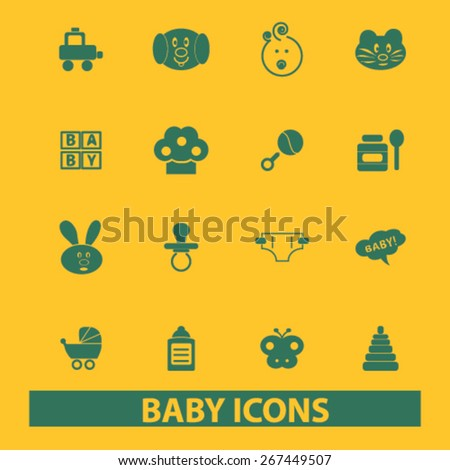 baby, children, toys isolated web icons, signs, illustrations concept design set, vector - stock vector