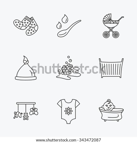 Baby clothes, bath and hat icons. Pram carriage, spoon with drops linear signs. Socks, baby toys and bubbles flat line icons. Linear black icons on white background. - stock vector