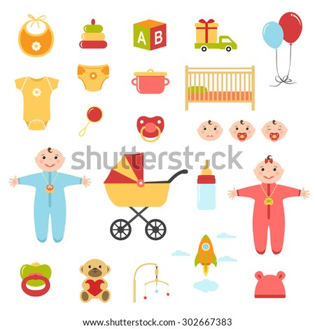 Baby colorful flat design icons set - stock vector