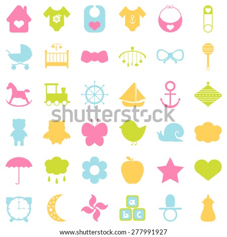 Baby colorful icons set. For cards, invitations, wedding or baby shower albums, backgrounds, arts and scrapbooks. Vector illustration  - stock vector