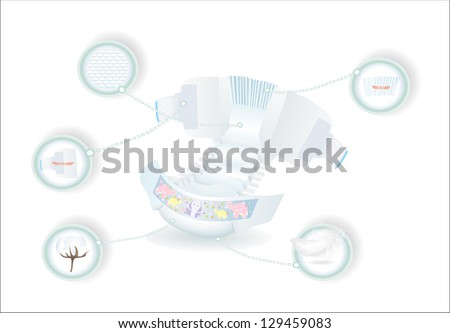 Baby diapers with funny picture on it. - stock vector